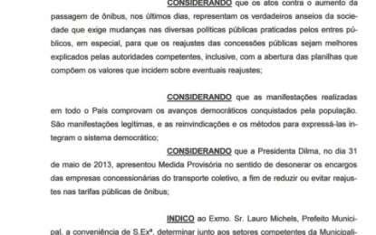 INDICAÇÃO PEDINDO A REDUÇÃO DA PASSAGEM DE ÔNIBUS – 20/06/13
